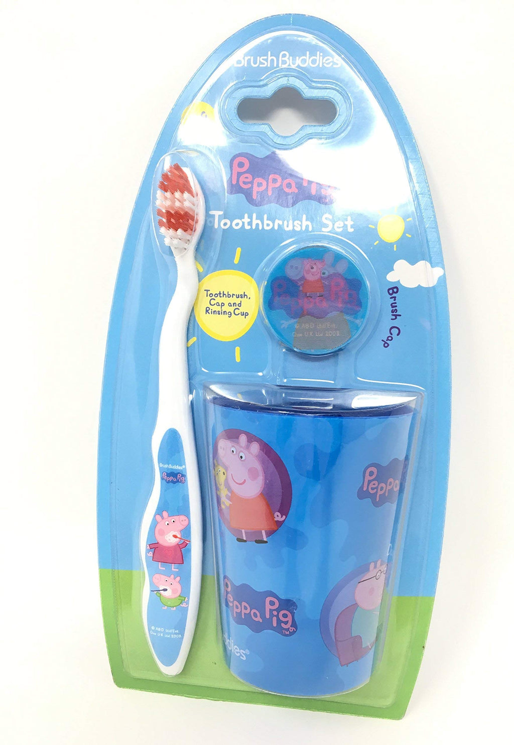 Party Favor 3pcs Peppa Pig Toothbrush Cap & Rinsing Cup Set, Blue