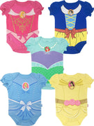 Disney Princess Baby Girls' 5 Pack Bodysuits Belle Cinderella Snow White Aurora