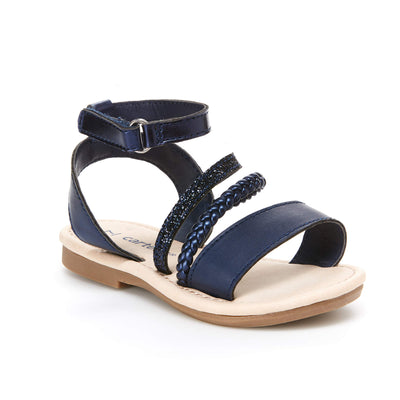 carter's Girl's Filipa Braided Strappy Sandal, Navy, 10 M US Toddler