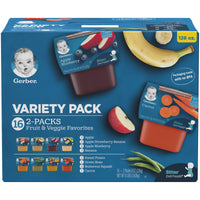 Gerber Purees 2nd Foods Veggie & Fruit Variety Pack, 8 Ounces, Box of 16