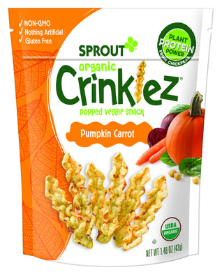 Sprout Organic Crinklez Toddler Snacks, Pumpkin Carrot, 1.48 Ounce Bag (Single)