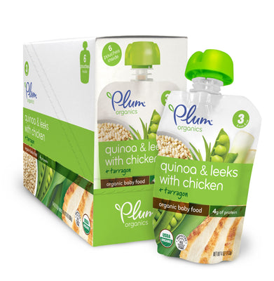 Plum Organics Baby Stage 3 Meals, Quinoa, Leeks with Chicken and Tarragon, 4 Ounce (Pack of 6)