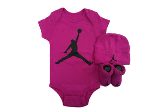 NIKE Jordan Jumpman 3 Piece Infant Set (Fuchsia Blast(BJ0041-A6F)/Black, 6-12 Months)