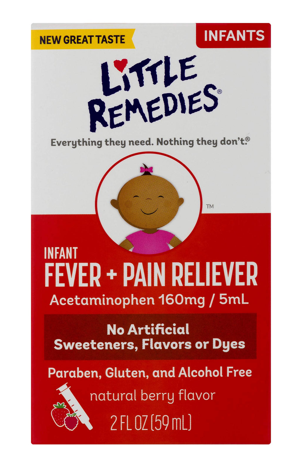 Little Remedies Infant Fever & Pain Reliever | Natural Berry Flavor | 2 FL OZ