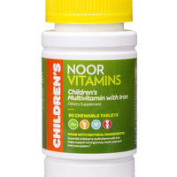 NoorVitamins Children's Chewable Multivitamins with Iron - 60 Chewable Tablets - Halal Vitamins