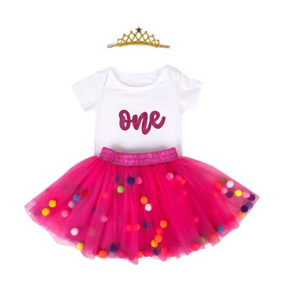 Baby Girls 1st Birthday Outfit Glitter One Romper Balls Skirt Crown Headband