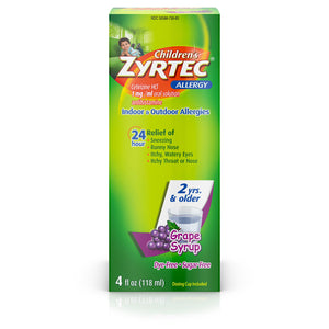 Zyrtec 24 Hr Children's Allergy Syrup with Cetirizine, Dye- & Sugar-Free, Grape Flavor, 4 fl. oz