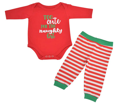 Unique Baby Unisex 1st Christmas Outfit Naughty List Onesie Layette
