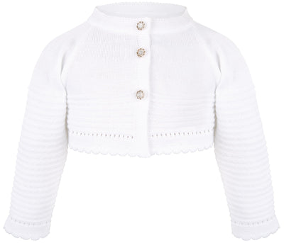 Lilax Baby Girls' Knit Long Sleeve Button Closure Wavy Bolero Cardigan Shrug