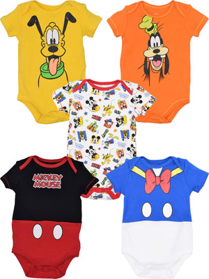 Disney Baby Boy Girl 5 Pack Bodysuits Mickey Mouse Donald Duck Goofy Pluto 3-6 Months