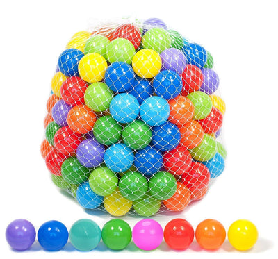 Playz 50 Soft Plastic Mini Play Balls w/ 8 Vibrant Colors - Crush Proof, No Sharp Edges, Certified Non Toxic, Phthalate & BPA Free - Use in Baby Toddler Ball Pit, Play Tents & Tunnels Indoor & Outdoor