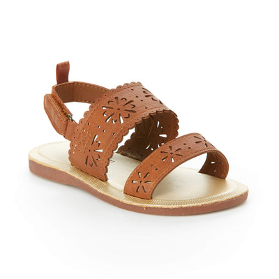 OshKosh B'Gosh Girls Aditi Floral Cut-Out Sandal, Brown, 3 M US Infant