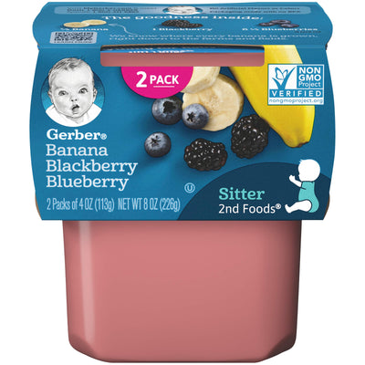 Gerber Purees 2nd Foods Baby Food, Banana/Blackberry/Blueberry, 4 oz, 2 ct
