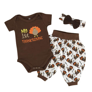 Unique Baby Unisex My 1st Thanksgiving Turkey Print Layette Harem Pants Outfit
