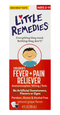 Little Remedies Children's Fever & Pain Reliever with Acetaminophen | Grape | 4 FL OZ