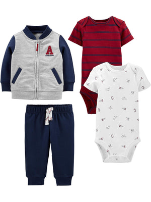 Simple Joys by Carter's Baby Boys' 4-Piece Fleece Jacket, Pant, and Bodysuit Set