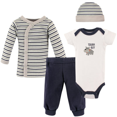 Luvable Friends Unisex Baby Preemie Layette Set, 4-Piece, Tough Guy (P)