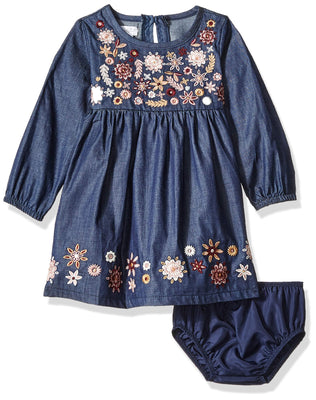Mud Pie Baby Girls Floral and Chambray Embroidered Long Sleeve Casual Dress