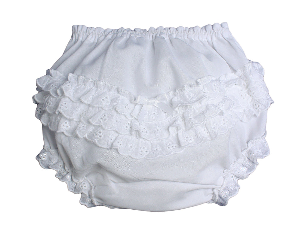 Little Things Mean A Lot Baby Girls White Elastic Bloomer Diaper Cover with Embroidered Eyelet Edging