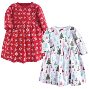 Hudson Baby Toddler and Baby Girl Cotton Dresses, Sparkle Trees 2 Pack, 18-24 Months (24M)