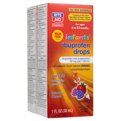 Rite Aid Infants' Dye-Free Ibuprofen Drops, Berry Flavor, 50 mg - 2 Pack | Infant Pain Reliever