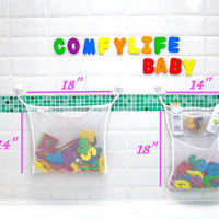 Comfylife 2 x Mesh Bath Toy Organizer + 6 Ultra Strong Hooks + 36 Bath Letters & Numbers - Eco-Safe, Fun, Educational Foam Baby Bath Letters and Perfect Toy Storage Net for Baby Bath Toys & More