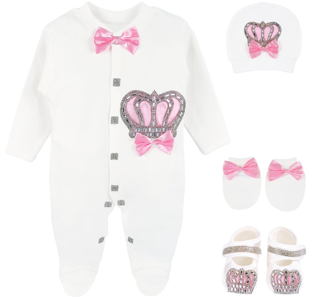 Lilax Baby Girl Newborn Jewels Layette 4 Piece Gift Set 0-3 Months