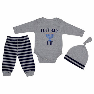 Unique Baby Boys Lets Get Lit Hanukkah Layette Set with Cap