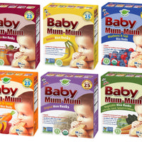 Peaceful Squirrel Variety, Hot-Kid Baby Mum-Mum Rice Rusks Variety Pack of 6 (Organic Original, Banana, Vegetables, Apple & Pumpkin, Carrot & Sweet Potato, Blueberry & Goji) - 1.76 Ounce