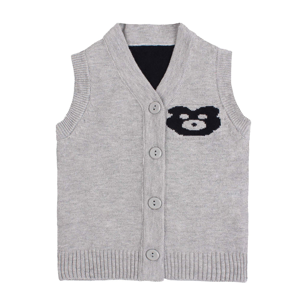 Cotton Bear Knit Baby Sweater Vest Sleeveless V-Neck Infant Boys Sweater Casual Newborn Girls Sweater Spring Autumn