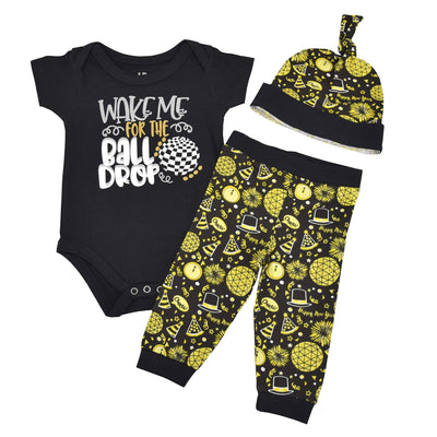 Unique Baby Unisex Wake for The Ball Drop New Years Outfit Layette Set