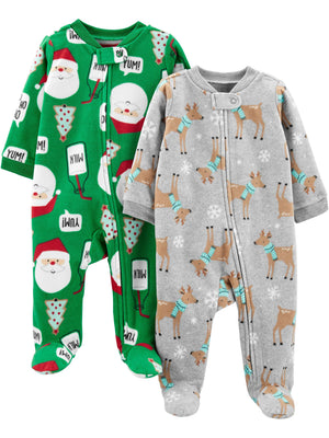 Simple Joys by Carter's Baby and Toddler 2-Pack Holiday Loose Fit Fleece Footed Pajamas
