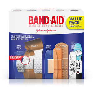 Band-Aid Brand Adhesive Bandage Family Variety Pack in Assorted Sizes including Water Block, Sport Strip, Tough Strips, Flexible Fabric and Disney Bandages for First Aid and Wound Care, 120 ct