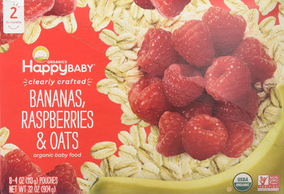 Happy Baby Clearly Crafted Stage 2 Organic Baby Food, Banana Raspberry and Oats, 4 Ounce Pouches, Pack of 8