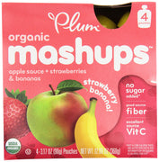 Plum Organics Plum Kids Strawberry Banana Organic Mashups Fruit Mashups 4 (3.17 oz.) pouches