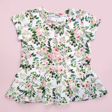 Load image into Gallery viewer, Eucalyptus Floral Short Sleeve Peplum Top