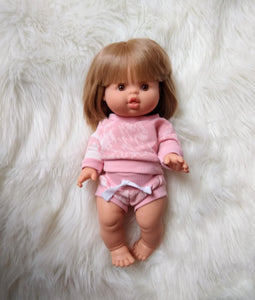 "Pink Tie Dye Minikane Doll Lounge set 13"" Doll"