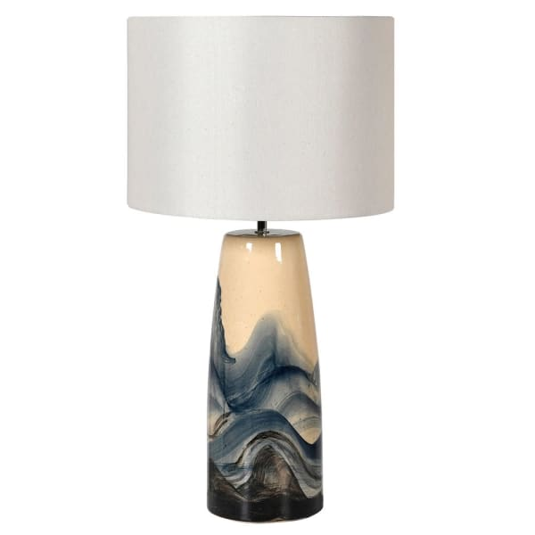 Hand Painted Wave Lamp With Shade
