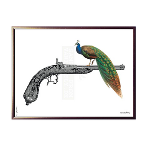 Peacock On Gun Framed Print