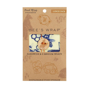 Bee's Wrap Set Of 3 Bees & Bears Lunch Pack