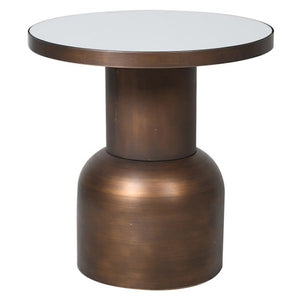 Circular Metal Table With Mirrored Top