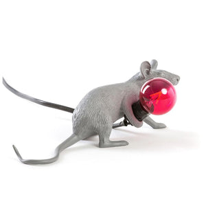 Grey Laying Mouse Lamp