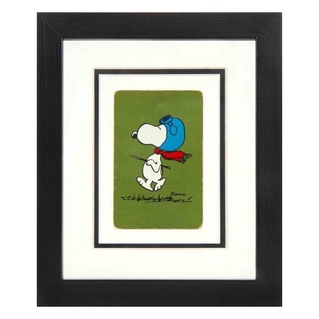 framed-vintage-playing-card-of-snoopy-walking-on-a-green-background