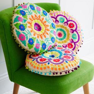 Tibet Green Circular Cushion