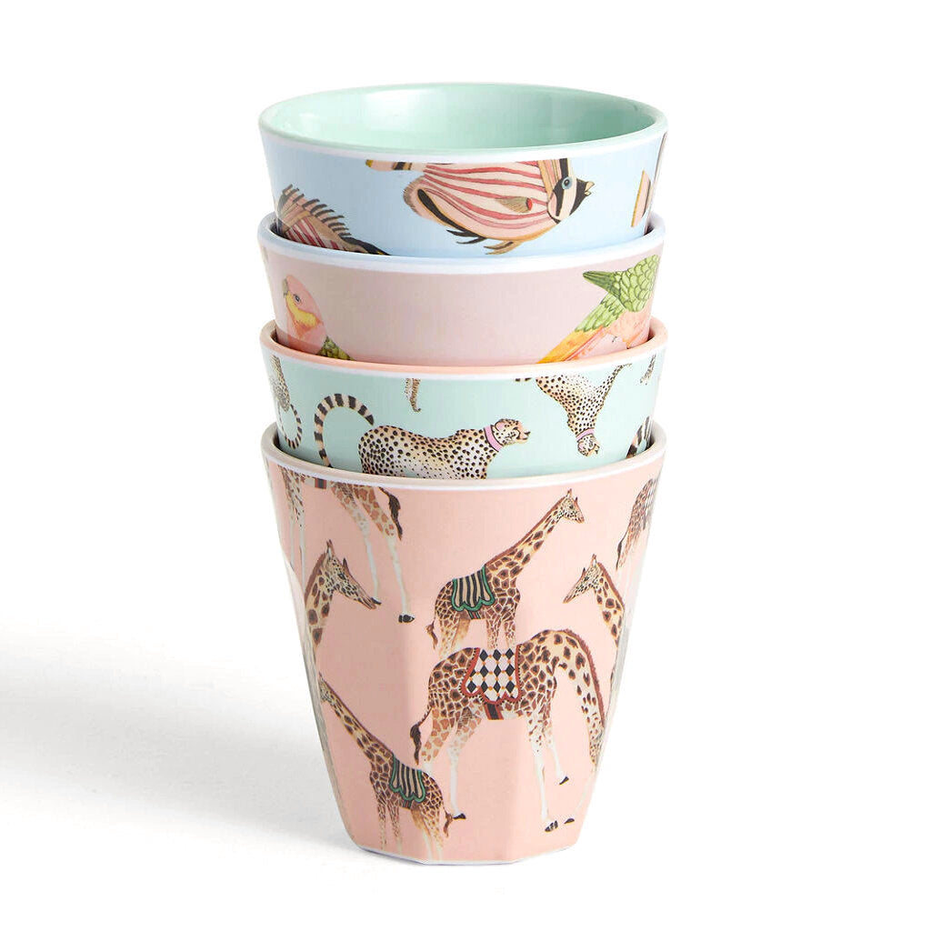 Set Of 4 Safari Picnic Tumblers