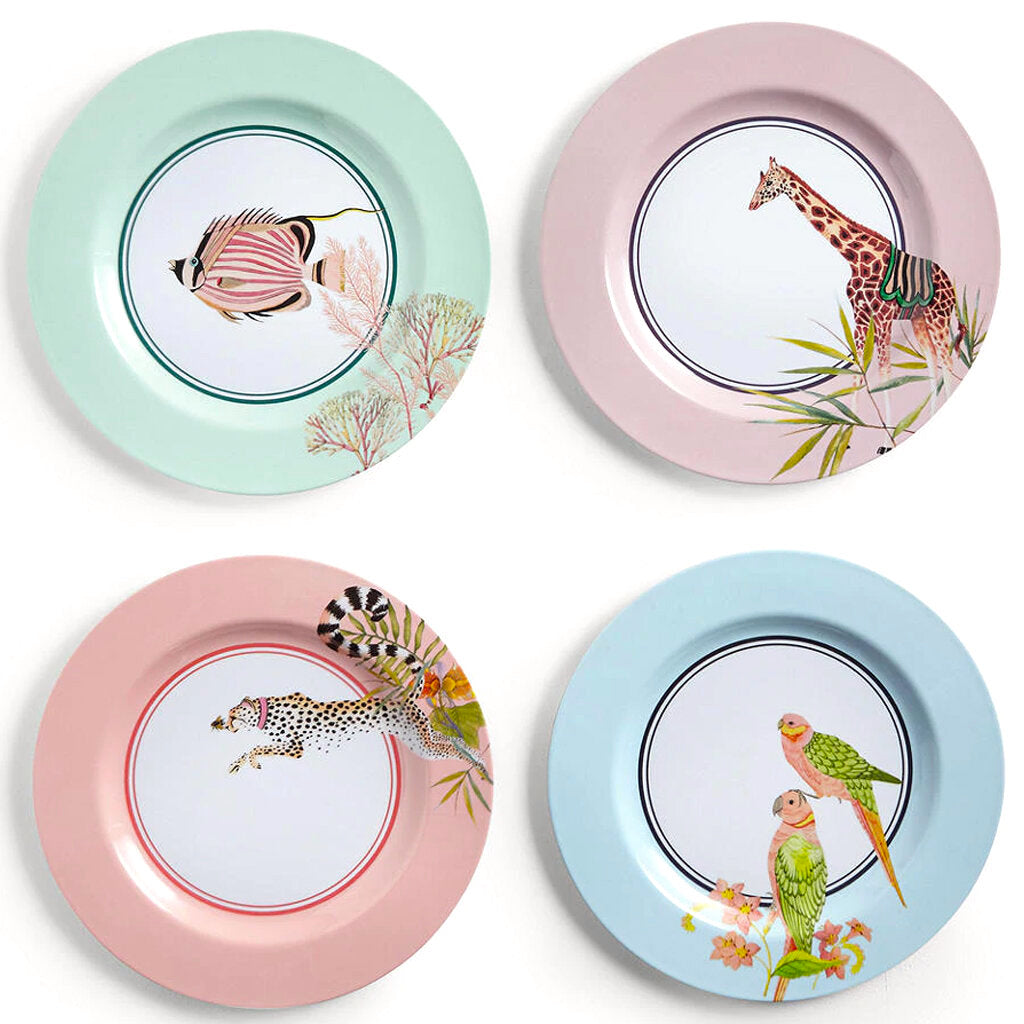 Set Of 4 Safari Picnic Dinner Plates
