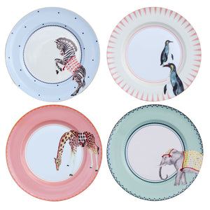 Set Of 4 Carnival Animal Dinner Plates