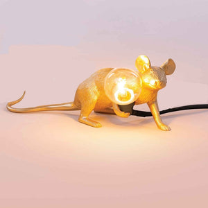 Gold Laying Mouse Lamp