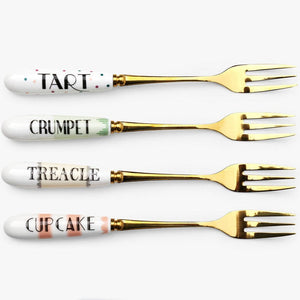 Set Of 4 Cheeky Cake Forks