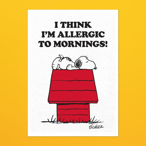 Peanuts Snoopy 'Allergic To Mornings' Tea Towel